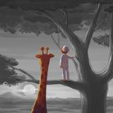 Pojke och giraff Möte någon i loppserien royaltyfri illustrationer