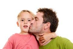 Pojke och hans pappa tillsammans Arkivbild