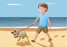 Pojke och hund som går på Arkivbild