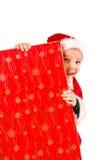 Pojke- och julgåva Royaltyfri Fotografi
