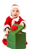 Pojke- och julgåva Royaltyfria Bilder