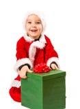 Pojke- och julgåva Royaltyfri Foto