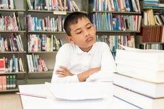 Pojke och läxa arkivbilder