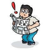 Pojke och nyheterna Arkivfoto
