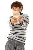 Pojke och pengar Fotografering för Bildbyråer