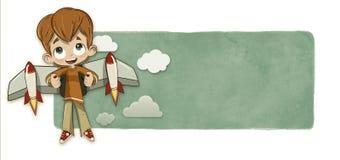 Pojke- och raketvingar Arkivbild