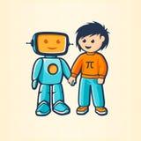 Pojke och robot royaltyfri fotografi