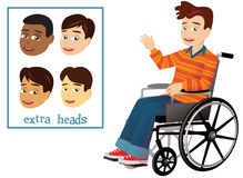 Pojke och rullstol royaltyfri illustrationer