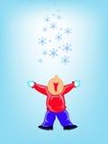 Pojke och snow stock illustrationer