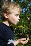 Pojke och växt Arkivbilder