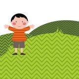 Pojke på ängen vektor illustrationer