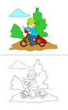Pojke på den motoriska sparkcykeln - färgläggningsida Fotografering för Bildbyråer