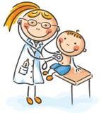 Pojke på doktorn stock illustrationer