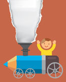 Pojke på färgpennalokomotivet Royaltyfri Foto