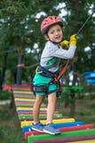 Pojke på klättringaktivitet i hög tråd Forest Park Tabellbergcablewayen lurar på sakkunniga igen Royaltyfri Bild