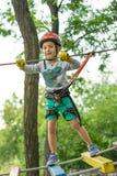 Pojke på klättringaktivitet i hög tråd Forest Park Tabellbergcablewayen lurar på sakkunniga igen arkivfoton