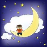 Pojke på månen Arkivfoton