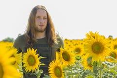 Pojke på solrosfältet Royaltyfri Foto