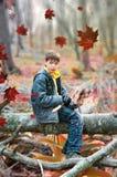 Pojke på träd royaltyfri fotografi