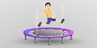 Pojke på trampolinbegreppsbanret, tecknad filmstil royaltyfri illustrationer