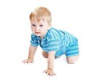 Pojke på vit bakgrund Arkivbild