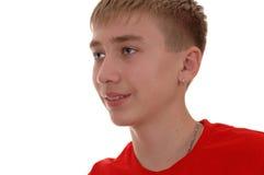 pojke på vit bakgrund. arkivfoto