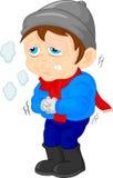 Pojke som är sjuk med en förkylning och en feber stock illustrationer