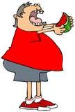 Pojke som äter en skiva av vattenmelon vektor illustrationer