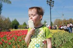 Pojke som äter glass Arkivfoto