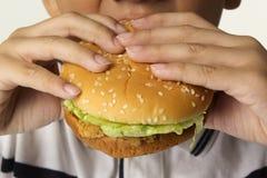 Pojke som äter hamburgaren. Arkivbild