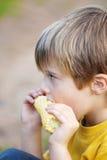Pojke som äter havre på majskolven Arkivbild