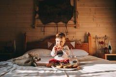 Pojke som äter kakor i säng Royaltyfri Fotografi