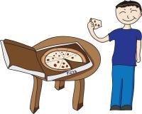 pojke som äter pizza Arkivbilder
