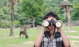 Pojke som använder kikare i zoo Arkivfoto