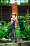 Pojke som arbetar i trädgården Royaltyfri Foto