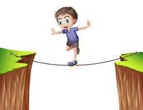 Pojke som balanserar på repet stock illustrationer