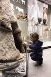 Pojke som besöker det historiska museet Arkivfoton