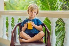 Pojke som dricker den saftiga smoothien från mango i den glass murarekruset med s Arkivfoto