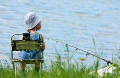 pojke som fiskar little stång Fotografering för Bildbyråer