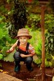 Pojke som fungerar i trädgården Royaltyfria Bilder