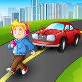 Pojke som går den lyssnande främsta bilen för musikspelare på gatastad stock illustrationer