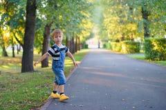 Pojke som går i parkera längs gränden Royaltyfri Bild