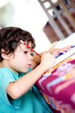 pojke som gör hans läxa Royaltyfri Fotografi