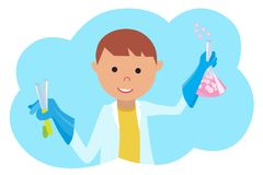 Pojke som gör kemiskt experiment Ung forskareVector illustration på vit Royaltyfria Bilder