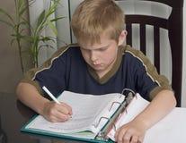 pojke som gör läxa Arkivbild