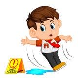 Pojke som halkar på vått golv stock illustrationer