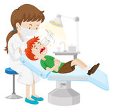 Pojke som har tänder att kontrolleras av tandläkaren vektor illustrationer