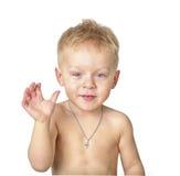 Pojke som hurrar handen arkivfoto