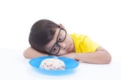 Pojke som inte önskar att äta Royaltyfria Bilder