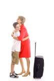 pojke som kramar låta vara kvinnan Arkivbild